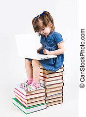 leren, met, draagbare computer