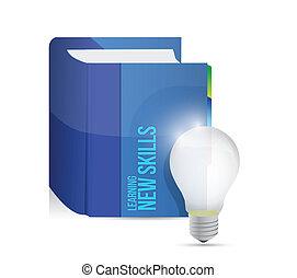 leren, nieuw, vaardigheden, boek, illustratie, ontwerp