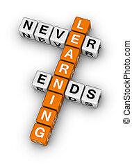leren, nooit, einden