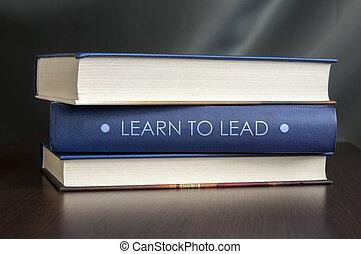 leren, om te leiden, boek, concept.