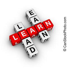 leren, om te leiden, en, verdienen