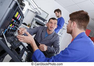 leren, om te, vaststellen, een, patroon, in, photocopy machine