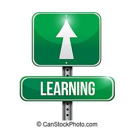 leren, ontwerp, straat, illustratie, meldingsbord