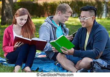 leren, samen, in, een, park