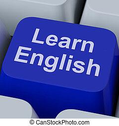 leren, taal, studerend , online, klee, engelse , optredens
