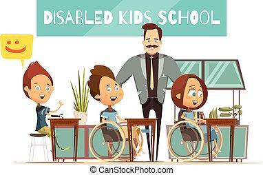 leren, van, invalide, geitjes, illustratie