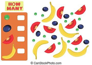 leren, velen, numbers., hoe, spel, preschool, wiskunde, children., wiskunde, objects., telling, task.