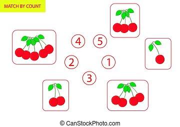 leren, velen, spel, hoe, getallen, preschool, wiskunde, logica, children., wiskunde, objects., telling, task.