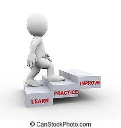 leren, verbeteren, 3d, man, stappen, praktijk