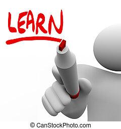 leren, woord, geschreven, man, met, teken, onderwijs