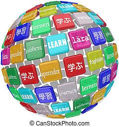 leren, woord, translated, in, anders, talen, op, een, bal...