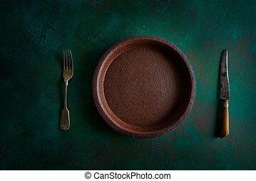 lergods, tallrik, bordsservis, keramisk, grungy