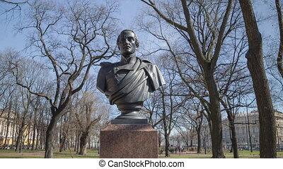 Lermontov monument day motion timelapse