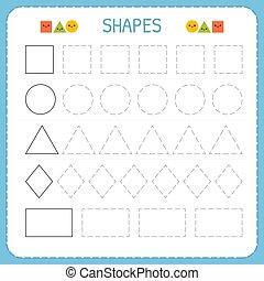 Formen, färbung, mehrfach, fähigkeiten, arbeitsblatt, shapes ...