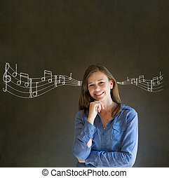 lernen, musikunternehmen, frau, oder, lehrer, mit, tafelkreide, hintergrund