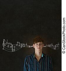 lernen, musikunternehmen, mann, oder, lehrer, mit, tafelkreide, hintergrund
