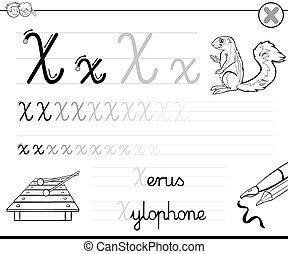 Schreiben, wie, buchstabe x. Fähigkeiten, arbeitsblatt, üben ...