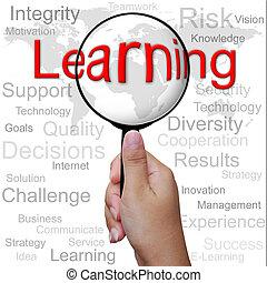 lernen, wort, in, vergrößerungsglas, hintergrund