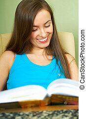 Lerning Girl - Young beautiful woman learning