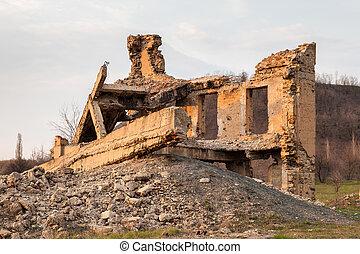 lerombol, épület, tönkretesz