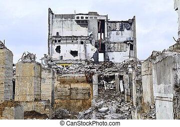 lerombol, háttér, épület., ipari, maradványok
