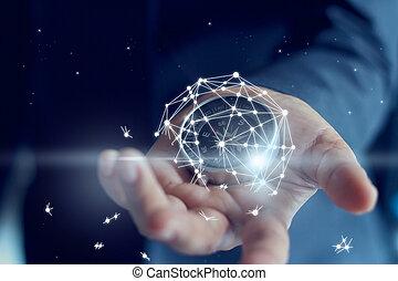 les, échec, de, business, montré, par, réseau global, connexion, dans, main, de, homme affaires, est, cassé