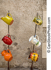 Les Baux de Provence, France - June 26, 2017: Ceramics in Les Baux de Provence. Bouches du Rhone, Provence, France, Europe.