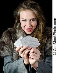 les, beau, girl, à, jeu carte