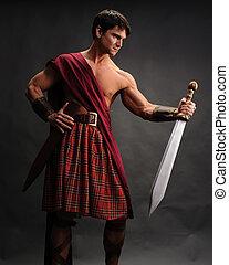 les, beau, gladiateur