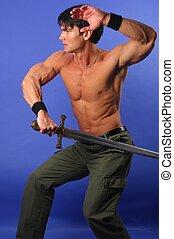 les, beau, homme, tient, a, épée