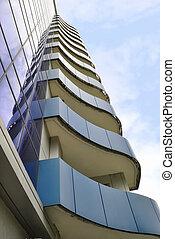 les, bleu, balcons