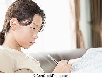les, boek, aziatisch meisje, schrijvende