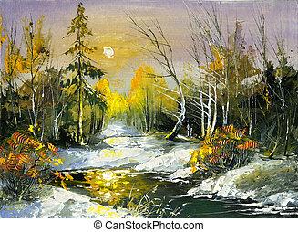 les, bois, rivière