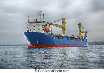 les, cargo, dans, les, mer