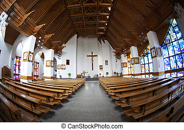 les, catholique, église, intérieur