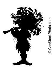 les, charakter, drobný- seznam porotců, silueta, -, skřítek, hvízdnutí