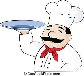 les, chef cuistot, à, une, vide, plat