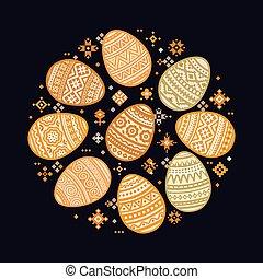 les, circulaire, gabarit, de, coloré, oeuf de pâques,...