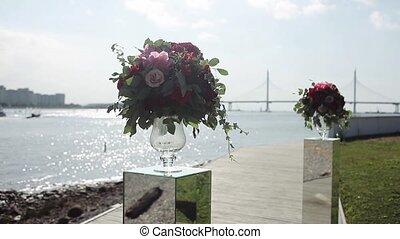 les, conception, de, weddings., bouquet, de, rouges,...