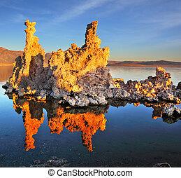 les, coucher soleil, sur, lac mono