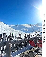 les, deux, alpes, refúgio esqui, café, e, declives, vista aérea, frança