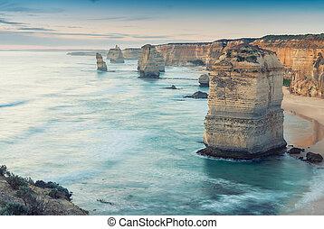 les, douze apôtres, vue, long, grande route océan, australie