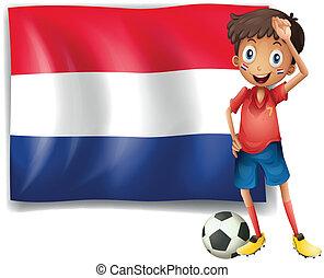les, drapeau, de, pays-bas, à, a, joueur football