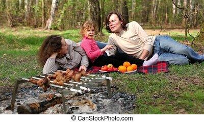 les, famille, fruit, poser, couvert, plaid, plaques, herbe