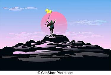 les, femme, dans main, tient, les, drapeau, debout, sur, sommet montagne, de, lui, à, grand, joy., à, a, coucher soleil, et, a, nuage, dans, les, fond