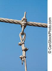 les, fil, métal, pont corde