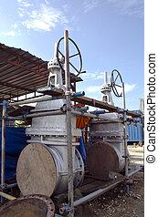 les, géant, portail, valves, are, prêt, à, être, installed.