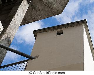 les, géométrie, de, laid, architecture moderne