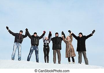les, gens, six, jeune, ascenseur, mains, prise, haut