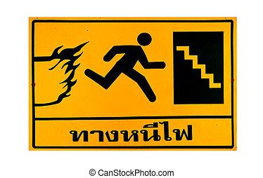 les, guide, poste, de, escalier secours, texte thaïlandais,...